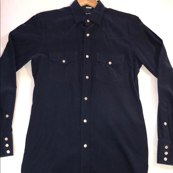 55a8e11df5b Blue Tom Ford western style button down. M 5a3d84218af1c5b4be02f021